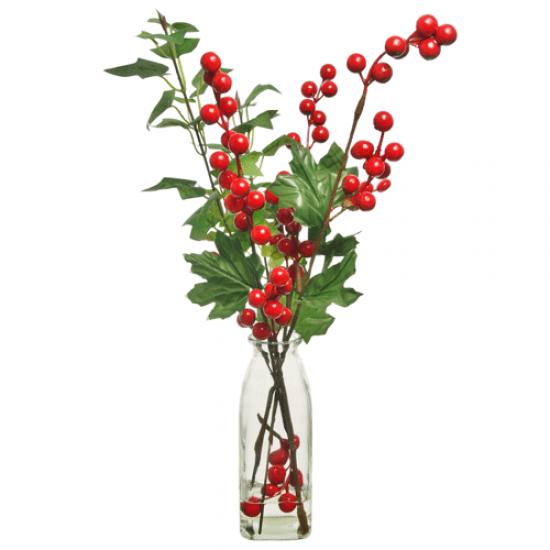 Artificial Flower Arrangements   Red Berries in Bottle Vase - 18X092 FR2D