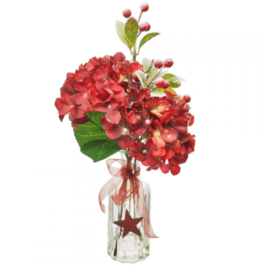 Artificial Flower Arrangements | Red Hydrangeas in Bottle Vase - 18X099 FR 1D