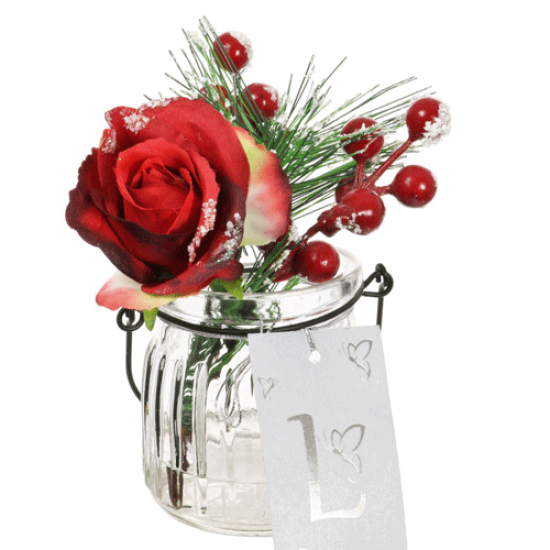 Artificial Flower Arrangements | Red Rose and Berries in Ribbed Vase - 18X090 FR 1A