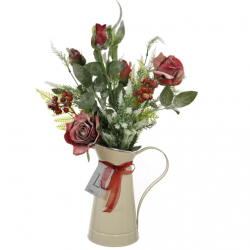 Christmas Flower Arrangements | Red Roses and Berries in White Jug - 18X087 - FR 2D