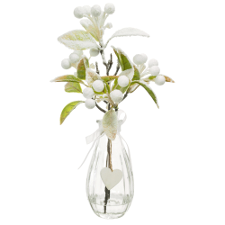 Christmas Flower Arrangements | White Snow Berries in Clear Glass Vase - 18X097 - FR 2A