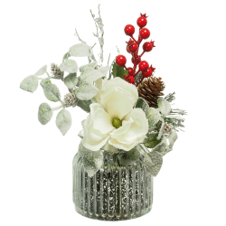 Artificial Flower Arrangements | White Magnolia and Red Berries - 18X095 - FR 1B