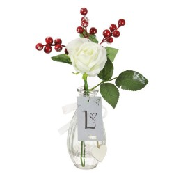 Artificial Flower Arrangements | White Rose and Berries in Bottle Vase - 18X083 FR 1C