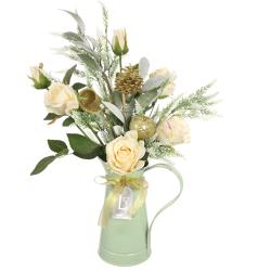 Christmas Flower Arrangements | Cream Roses in Green Jug - 18X088 - FR 2A &2D