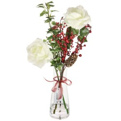 Artificial Flower Arrangements | White Roses and Berries in Bottle Vase - 18X085 -FR 1D