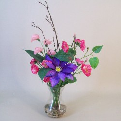 Artificial Flower Arrangements Pink Wild Roses and Purple Clematis - RCV007 7A
