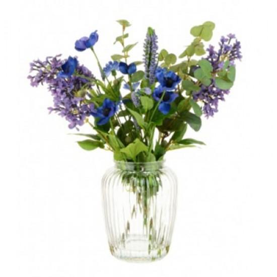 Artificial Flower Arrangements Cottage Garden Blue and Purple Flowers - LIL007 7C
