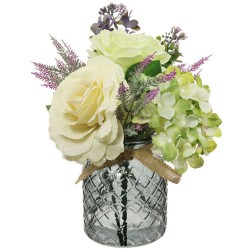 Cream Roses and Green Hydrangeas Artificial Flower Arrangement - ROS015