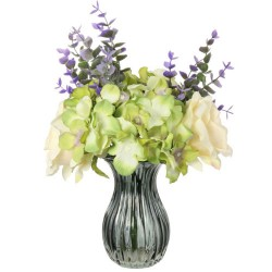 Cream Roses and Green Hydrangeas Artificial Flower Arrangement - ROS019 7D