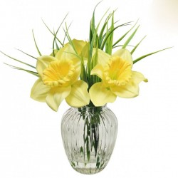 Daffodils in Ribbed Vase | Artificial Flower Arrangements - DAF002 FR1C