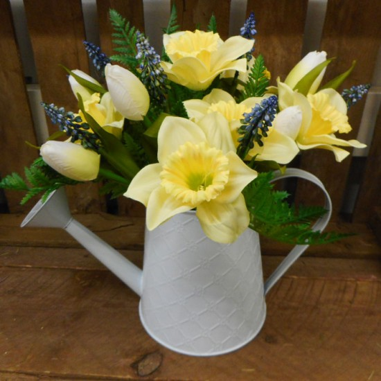 Daffodils and Tulips in White Watering Can | Artificial Flower Arrangements - DAF001 2C