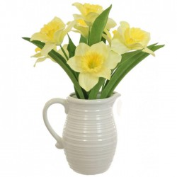 Daffodils in Ceramic Jug | Artificial Flower Arrangements - DAF003 3E+4C