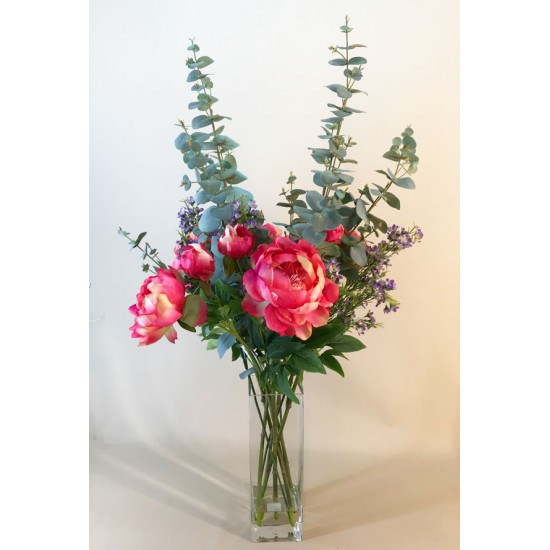 Elegant Pink Peonies Vase   Artificial Flower Arrangements - PEO007 OFF