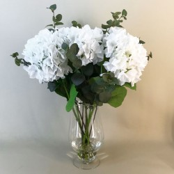 Elegant White Hydrangeas Vase | Artificial Flower Arrangements - HYD015 1A