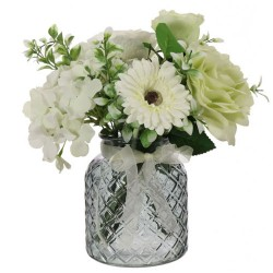 Green Roses and White Hydrangeas Artificial Flower Arrangement - ROS013 6C