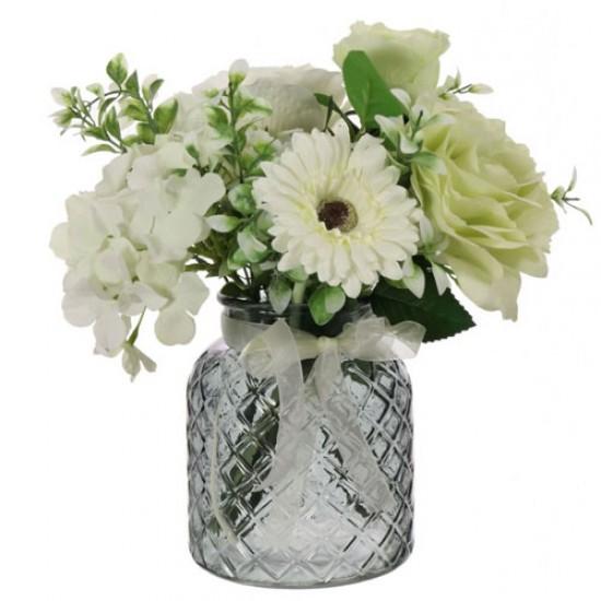 Green Roses and White Hydrangeas Artificial Flower Arrangement - ROS013 6C