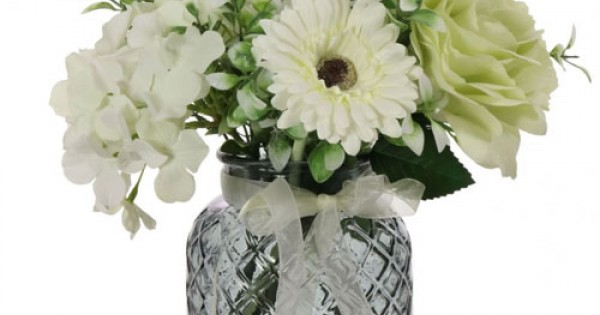 Green Roses And White Hydrangeas Artificial Flower Arrangement