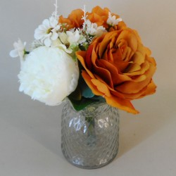 Artificial Flower Arrangement | Hydrangeas and Roses Burnt Orange - HYD020 FR