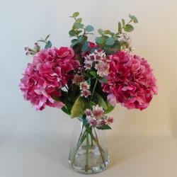 Centerpiece Arrangement | Pink Artificial Hydrangeas & Eucalyptus - HYD021 1B