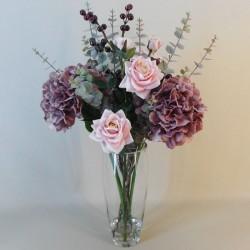 Artificial Flower Arrangement | Roses and Hydrangeas Mauve Pink - RHV009