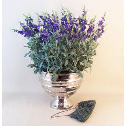 Knightsbridge Artificial Lavender Plants in Silver Urn Planter - LAV010 OFF
