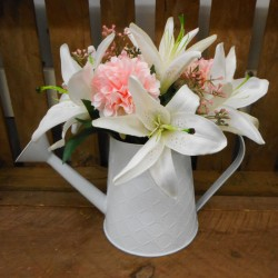 Lilies and Chrysanthemums in White Watering Can | Artificial Flower Arrangements - LIL024 1B