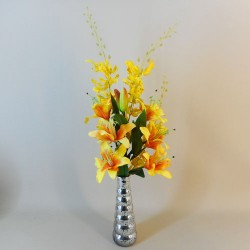 Artificial Flower Arrangements | Yellow Lilies and Orchids - LIL021 7D