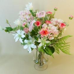 Luxury Artificial Flower Arrangement Pink Garden Flowers in Footed Vase - GAR008 4A