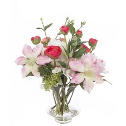 Luxury Artificial Flower Arrangement Pink Garden Flowers in Glass Vase - GAR007 4A