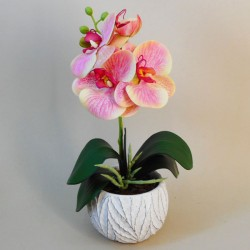 Mini Artificial Orchid Plant in Ceramic Pot Pink and Yellow - ORC002 6C
