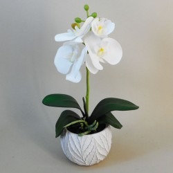 Mini Artificial Orchid Plant in Ceramic Pot White - ORC009 5D