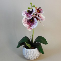 Mini Artificial Orchid Plant in Ceramic Pot White Burgundy - ORC001 5C