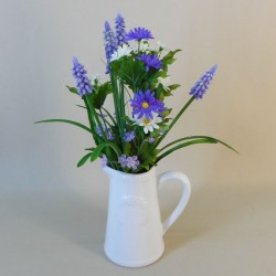 Artificial Flower Arrangements | Muscari and Daisies Jug - MUS001 6D