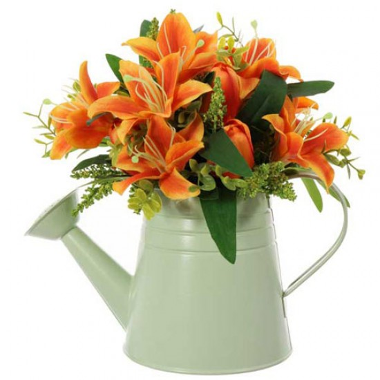 Orange Lilies and Tulips in Green Watering Can | Artificial Flower Arrangements - LIL023 5A