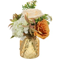 Orange Roses and Cream Hydrangeas Artificial Flower Arrangement - ROS016 7C