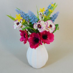 Artificial Flower Arrangement Spring Mix with Anemones in Porcelain Vase - AV007 5C