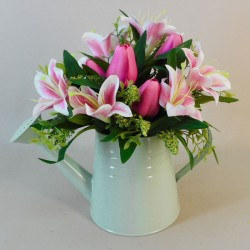 Pink Lilies and Tulips in Green Watering Can | Artificial Flower Arrangements - LIL024 3D