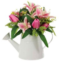 Pink Lilies and Tulips in White Watering Can | Artificial Flower Arrangements - LIL024