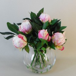 Artificial Flower Arrangements | Pink Peonies and Bay Fish Bowl - PEO009