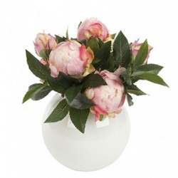 Artificial Flower Arrangements | Pink Peonies in White Fish Bowl - PEO009 6E
