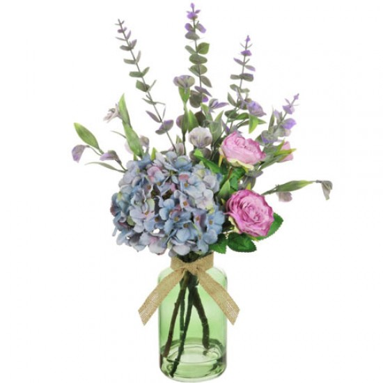 Pink Roses And Blue Hydrangeas Artificial Flower Arrangement