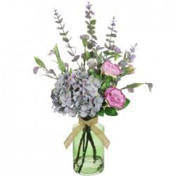 Pink Roses and Blue Hydrangeas Artificial Flower Arrangement - ROS014 7B