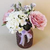 Pink Roses and White Hydrangeas Artificial Flower Arrangement - ROS006