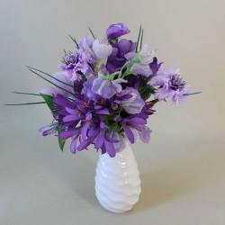Artificial Flowers Arrangement Purple Flowers in Porcelain Vase - PUR001 3D