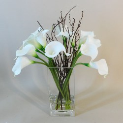 Calla Lily Artificial Flower Arrangement White - CLV009 6E