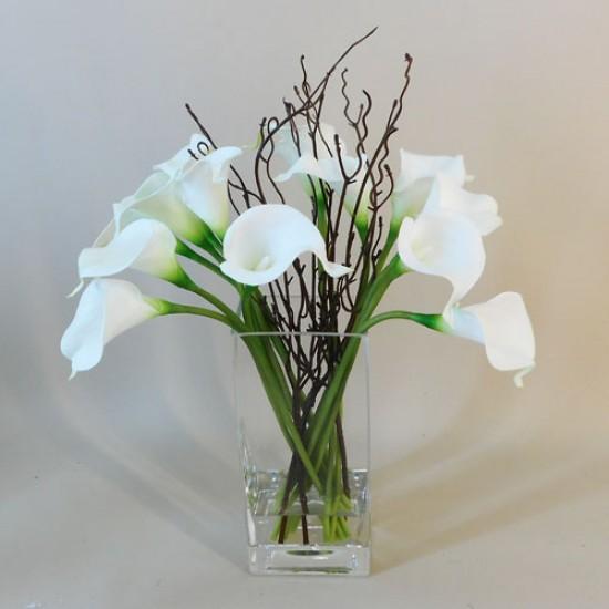 Calla Lily Artificial Flower Arrangement White - CLV009 6E