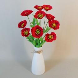 Artificial Flower Arrangements | Red Poppies in Ceramic Vase - POP001 2B