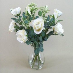 Rose and Queen Anne's Lace Clearwater Vase Arrangement Cream - ROS018 1C