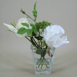 Rose and Queen Anne's Lace Clearwater Vase Arrangement Ivory - RQV002 3B