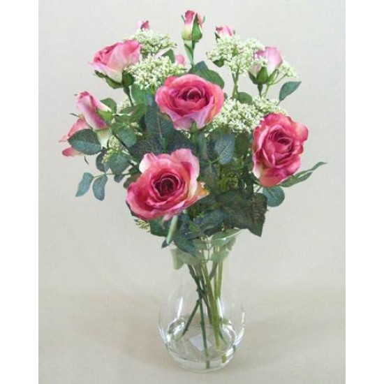 Rose and Queen Anne's Lace Clearwater Vase Arrangement Mid Pink - ROS017 2B